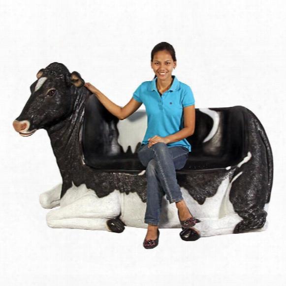 """Cowch"""" Holstein Cow Bench Sculpture"""
