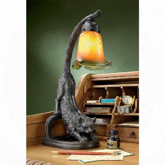 "Crouching Cat, Flexing Feline"" Illuminated Sculpture"