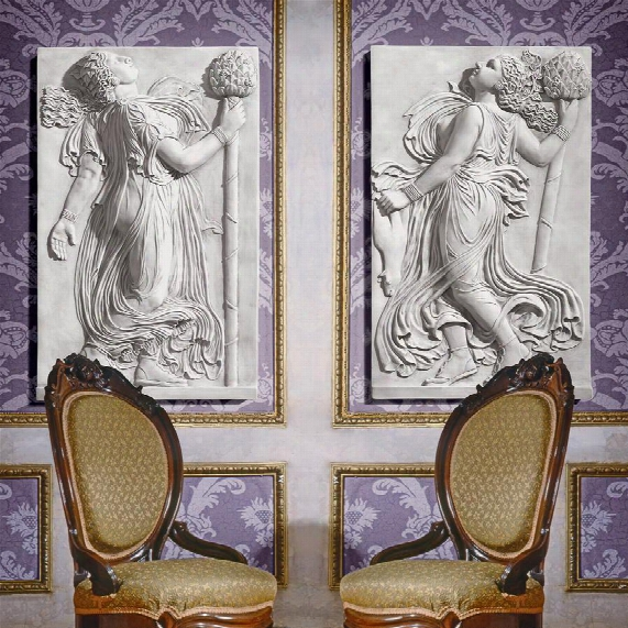 Dancing Greek Maenads With Thyrsus Left & Right Wall Friezes: Set Of Two