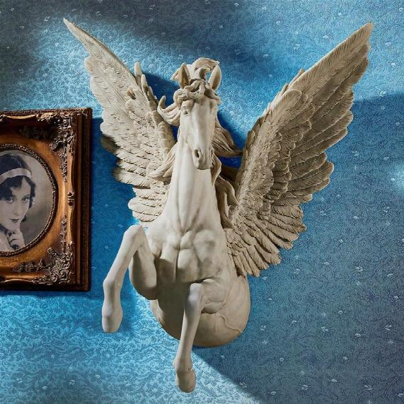 Divine Pegasus Winged Stallion Wall Sculpture