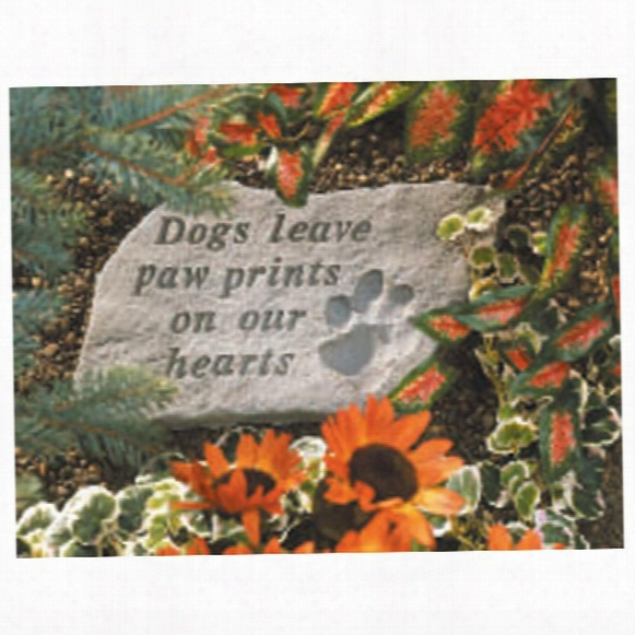 Dog Paw Prints Cast Stone Memorial Statue: Large