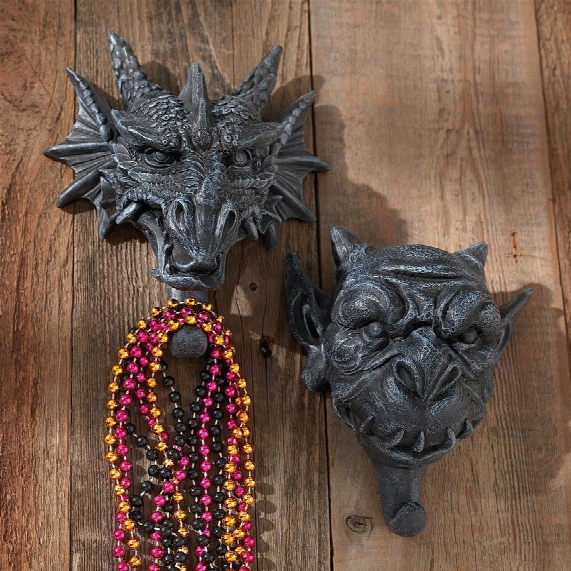 Drachen & Grendel Wall Hooks: Set Of 2