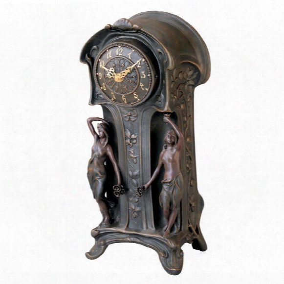 Dual Maiden Art Nouveau Mantelpiece Clock