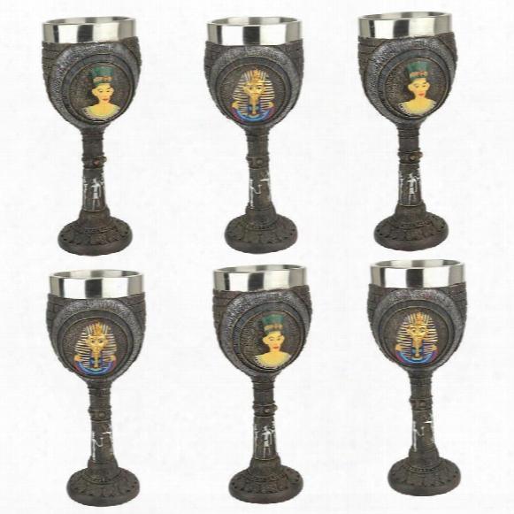 Egyptian Deities Sculptural Royal Goblet: Set Of Six