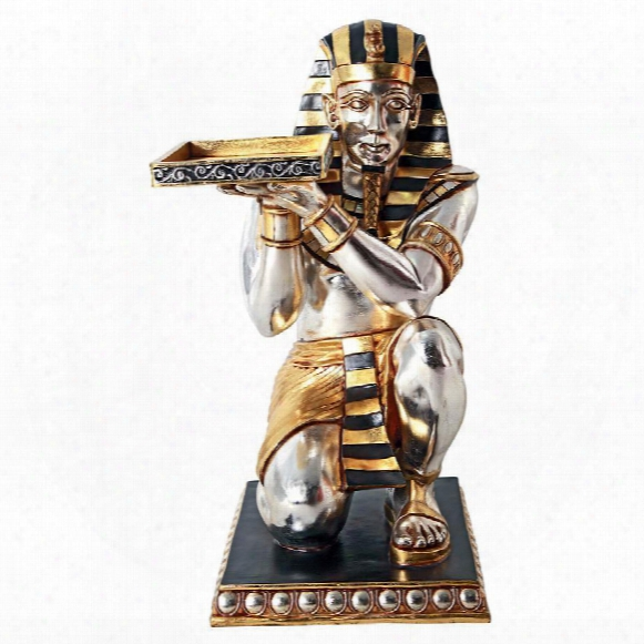 Egyptian Pharaoh's Kneeling Servant: Egyptian Side Table Statue