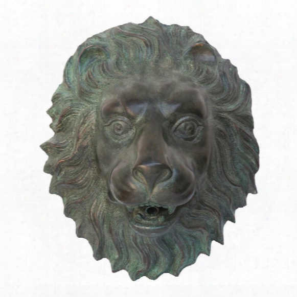 Florentine Lion Head Spouting Bronze Garden Wall Sculpture