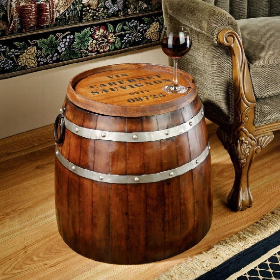 French Wine Barrel Side Table