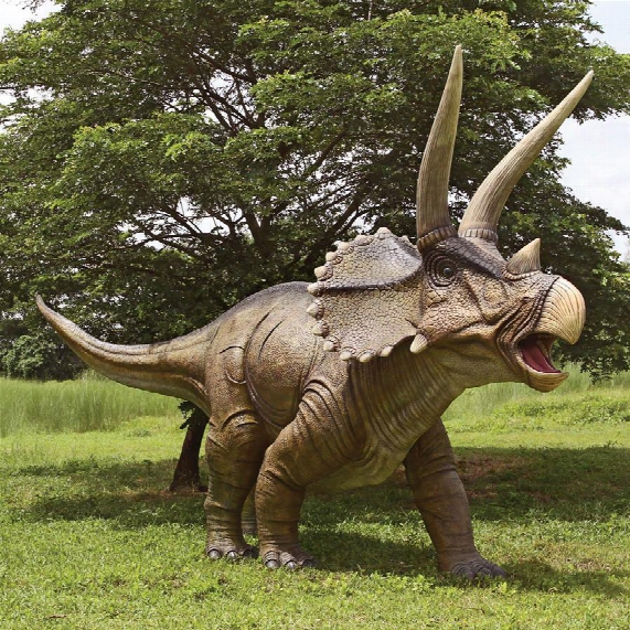 Giant Charging Titan Triceratops Dinosaur Statue