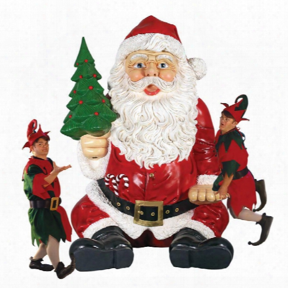 Giant Sitting Santa Claus Statue With Hand Seat
