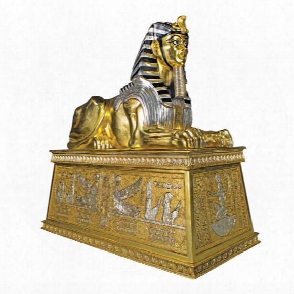 Grand Gilded Sphinx Statue Atop A Egyptian Plinth
