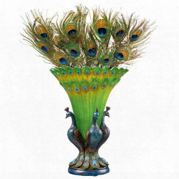 Grand Plumage Peacock Sculptural Vase
