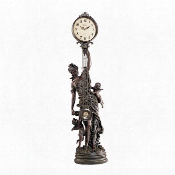 Grand-scale Flora Sculptural Swinging Pendulum Clock