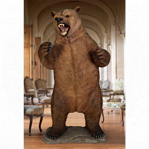 "Growling Grizzly Bear"" Life-size Statue"