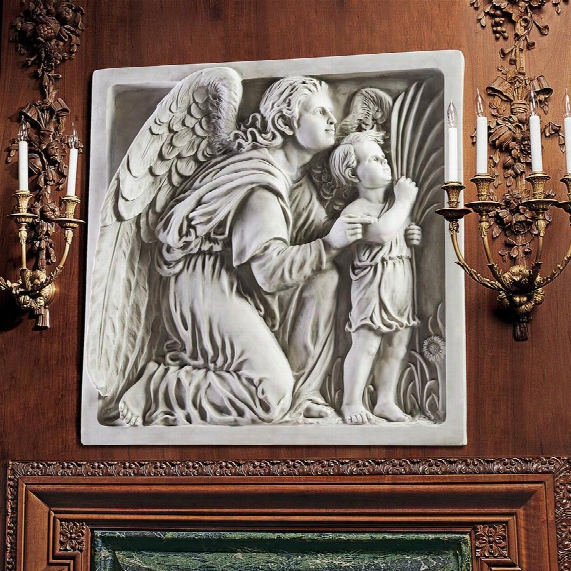 Guiding Angel Sculptural Wall Frieze By Artist Ellen Mary Rope (1855-1934)