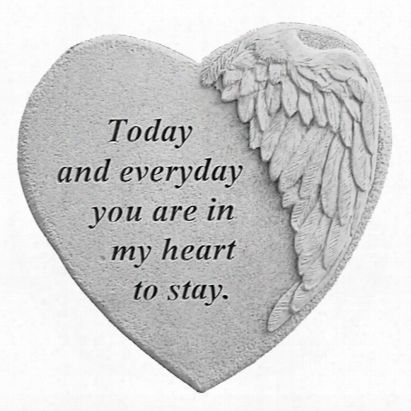 In My Heart To Stay: Angel Wing Cast Stone Memorial Garden Marker
