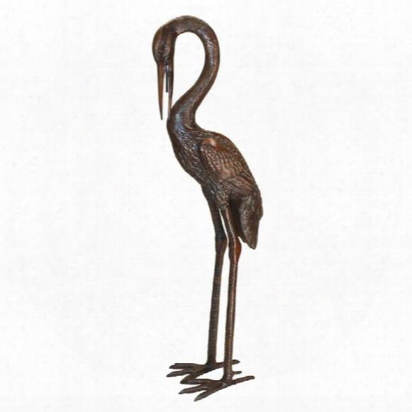 Large Heron Head Low Cast Bronze Garden Statue
