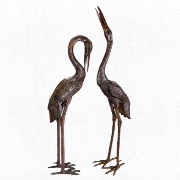 Large Herons Cast Bronze Garden Statue Set