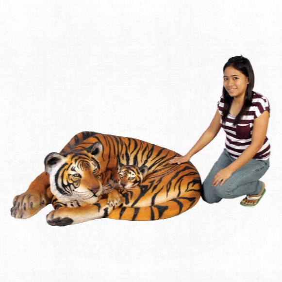 Life-size Resting Bengal Tigress And Cub Statue