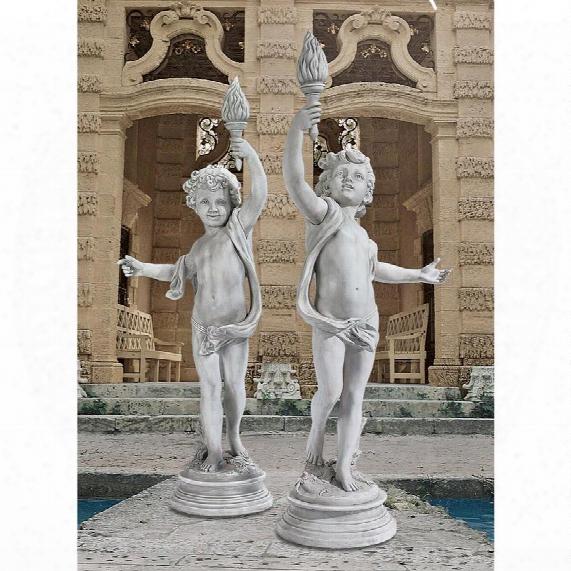 Lighting The Heavens Grande Cherub Sentinel Statue Set: Left Arm Raised & Right Arm Raised