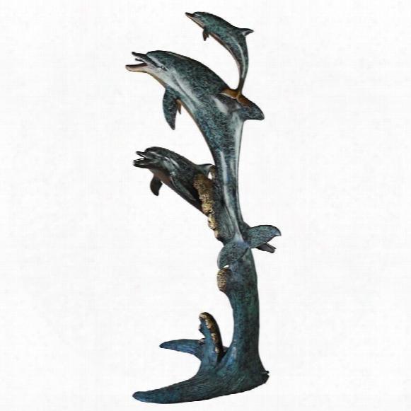 """Los Tres Amigos"""" Dolphin Family Cast Bronze Garden Statue"""