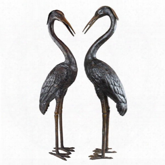 Medium Herons Cast Bronze Garden Statue Set