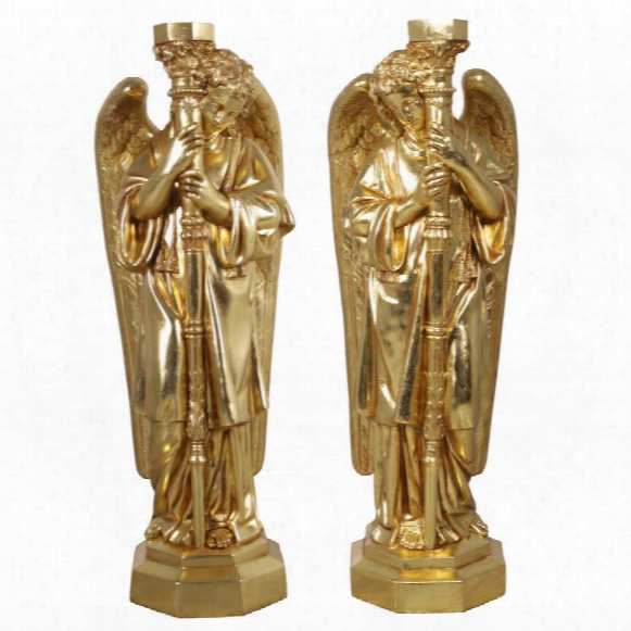 Padova Golden Guardian Angel Sculpture: Set Of Two