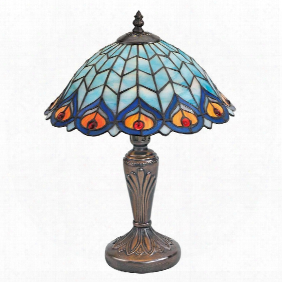 Peacock Feathers Stained Glass Lamp