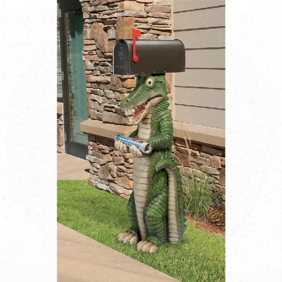 Postal Gator Mail Post Sleeve Statue