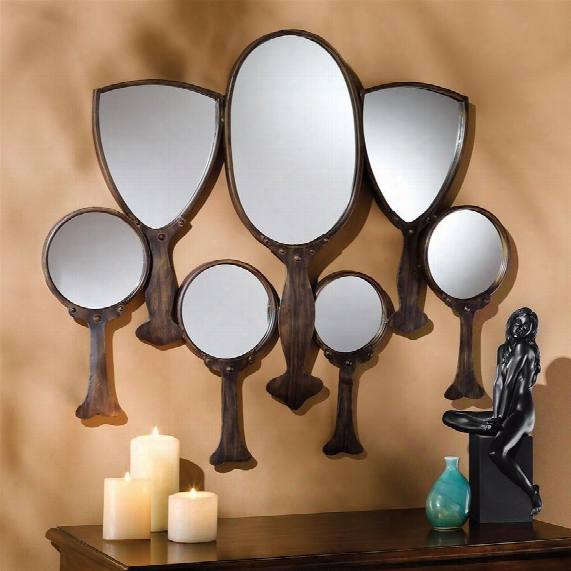 """Reflective Gaze"""" Hand Mirror Wall Sculpture"""
