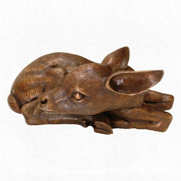 Resting Baby Deer Fawn Cast Bronze Garden Statue