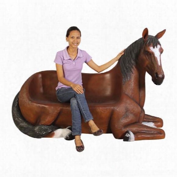 "Saddle-up"" Horse Bench Sculpture"