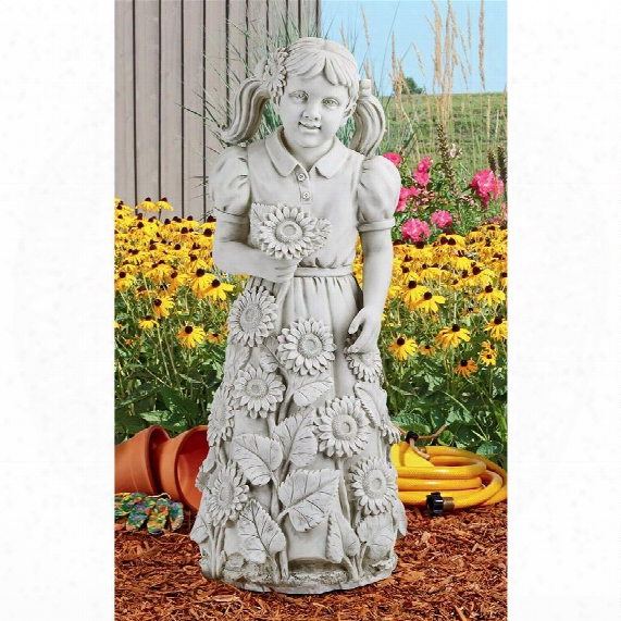 Savannah&am;papos;s Sunflowers Little Girl Garden Statue