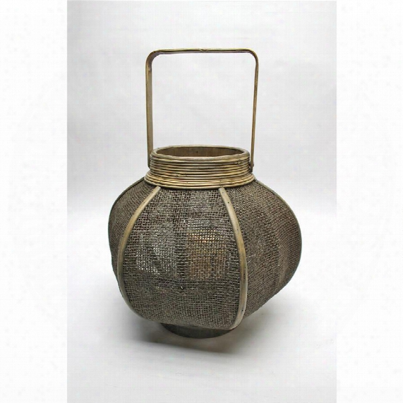 Simply Illuminating: Burlap And Rattan Urn-shaped Lantern