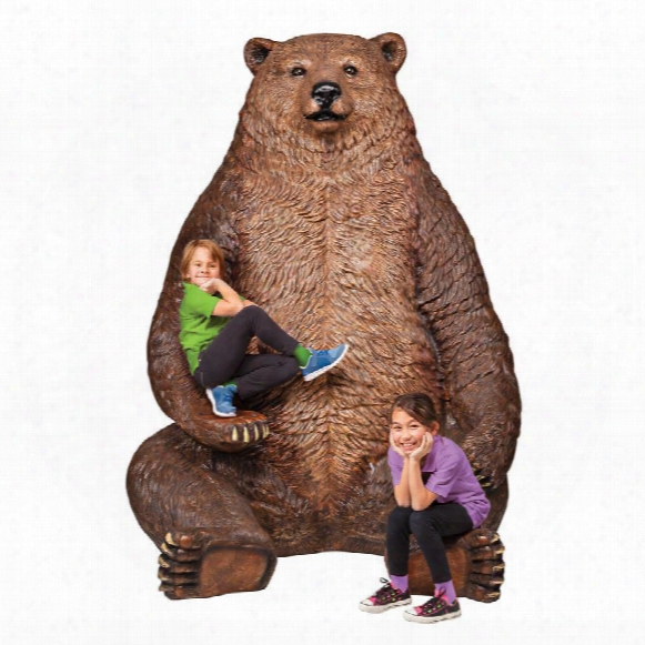 "Sitting Pretty"" Oversized Brown Bear Statue With Paw Abode"