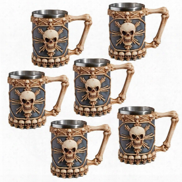 Skullduggery Tankard Mugs: Set Of 6