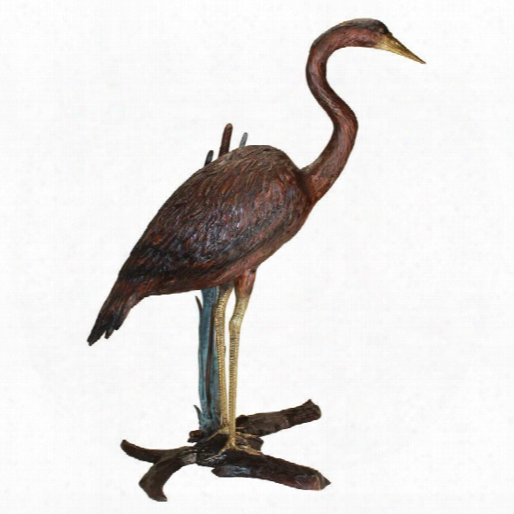 Standing Heron In Reeds Cast Bronze Garden Statue
