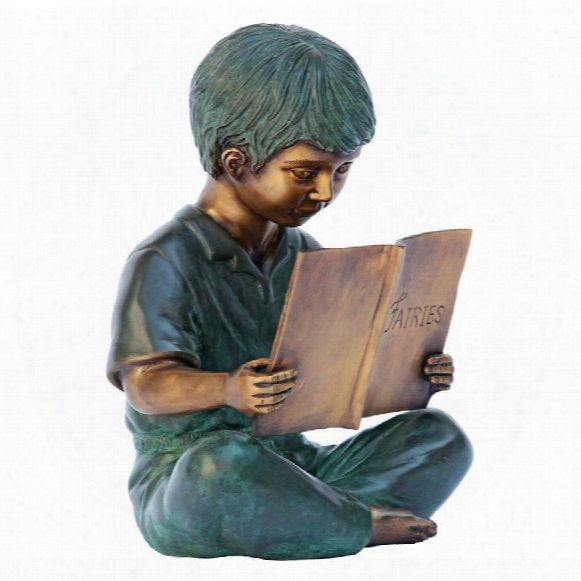 Story Book Boy Bronze Garden Statue