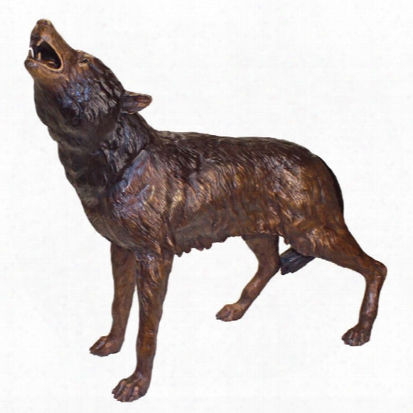 The Howl Of The Wild Wolf Cast Bronze Garden Statue