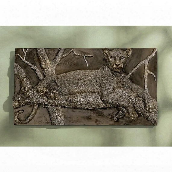 "The Resting Leopard"" Sculptural Wall Frieze"