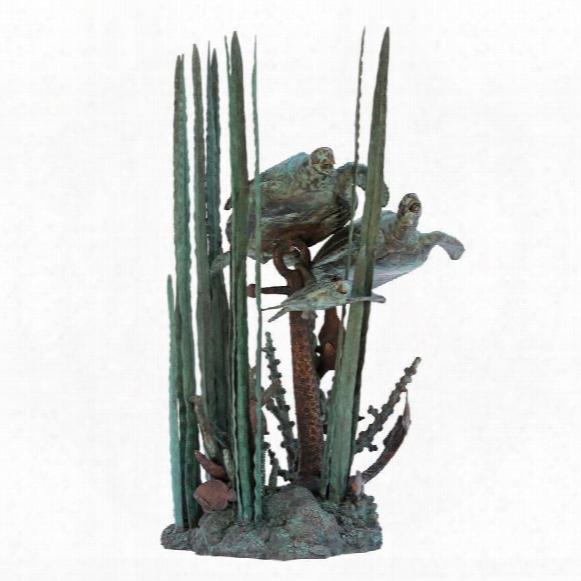 Undersea Turtles Bronze Garden Statue