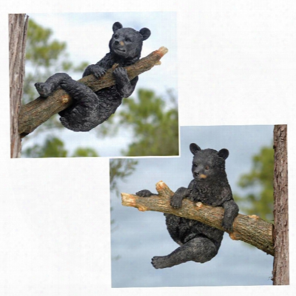 Up A Tree Hanging Black Bear Cub Statues: Climbing & Death By The Halter Cub Set