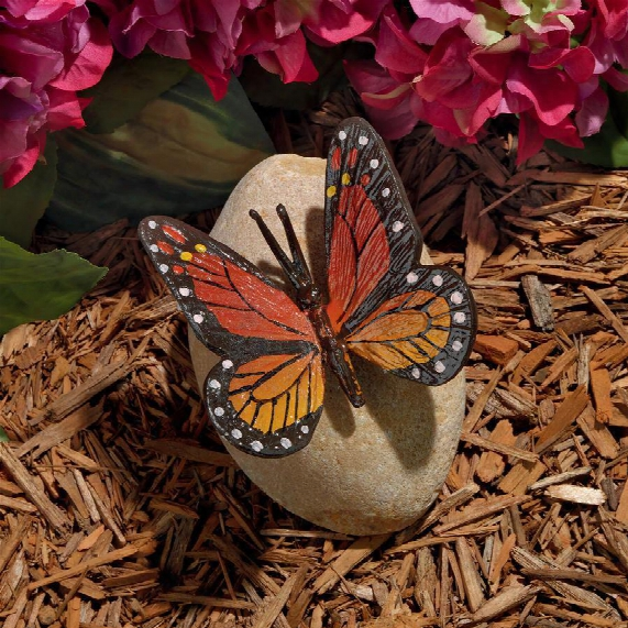 Viceroy Monarch Butterfly On Rock Statue