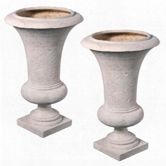 Viennese Architectural Garden Urn: Medium Set Of Two