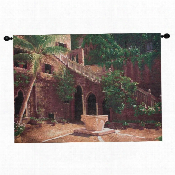 Wishing Well Coutyard Corley Wall Tapestry
