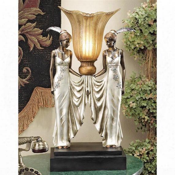 Art Deco Peacock Maidens Illuminated Statue