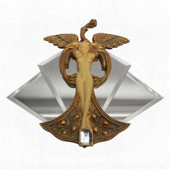 "Art Nouveau ""peacock Princess"" Mirrored Wall Sculpture"