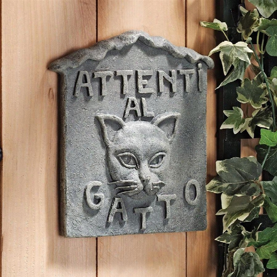 Beware Of Cat Italian Wall Sculpture: Attenti Al Gatto