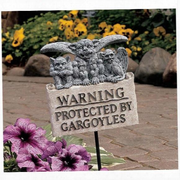 Beware Of Gargoyles Garden Plaque With Stake