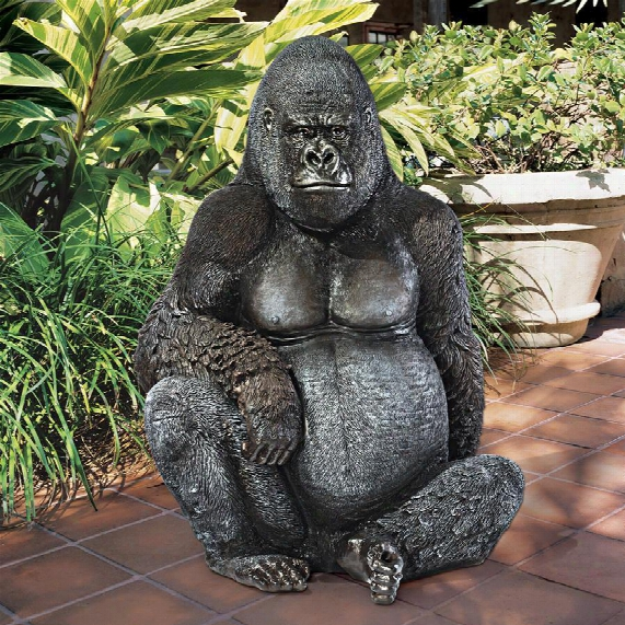Black-back Western Lowland Gorilla Giant Great Ape Statue
