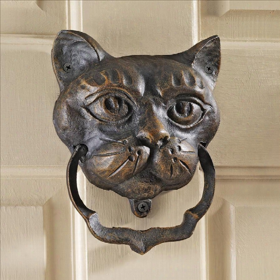 Black Cat Authentic Foundry Iron Door Knocker